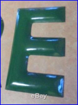 1960's Tire Porcelain Green Letter Sign Vintage Gas Station 12