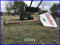 1961 Sinclair Double Sided Porcelain Gas And Oil Sign! 5x7 Feet! And Pole 18