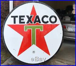 1964 Porcelain 6 Feet Diameter 72 Texaco 2-Sided Oil Gasoline Sign Double Sided