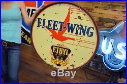 2 SIDED PORCELAIN Fleet Wing Ethyl OIL LOLLIPOP STAND RARE Sign Gas Station Adv