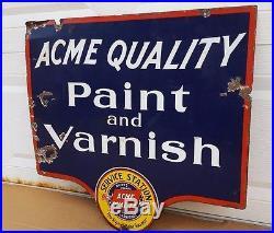 2 Sided Metal Sign Porcelain Original Service Station Acme Paints