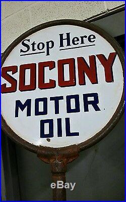 2 Sided Porcelain Socony Motor Oil Lollipop Stand Nice