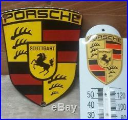 2 VINTAGE PORSCHE AUTOMOBILE PORCELAIN MOTOR SERVICE STUTTGART SIGN 1Thermometer