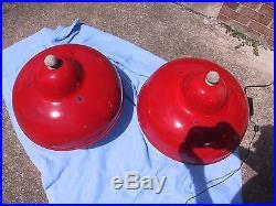 (2) Vintage Porcelain Enamel Gas Station Island Light Fixtures in Red Nice Set