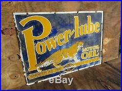 20x28 authentic org. 1930 Power Lube Tiger Penn. Gas & Oil Co. Porcelain Sign