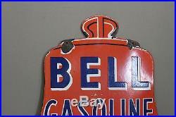 24 Bell Gasoline Oils Porcelain Sign Gas Oil Farm Seed Motor Liberty