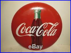 24 Original 1950 Coca Cola Coke Porcelain Sign Heavy Thick Authentic and Clean