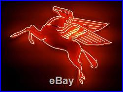 24 RARE Pegasus Flying Horse Mobil Oil Station PORCELAIN REAL NEON SIGN LIGHT