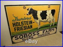24x36 original antique1930s Cow Farm Sign Porcelain Sign Purebred Holstein Cows