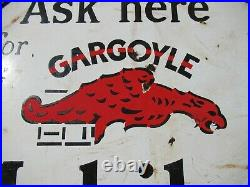 25 Round authentic org. 1920 Gargoyle Gas and Mobil Oil Co. Porcelain Sign