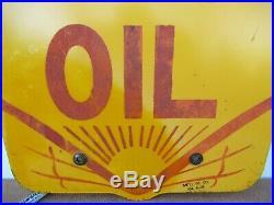 25x24.5 Orignal June 1929 Shell Motor Oil Heavy Porcelain Sign Gas & Oil Co