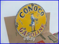 25x25 authentic 1920 Conoco Minute Man Porcelain Sign Gas & Oil Co
