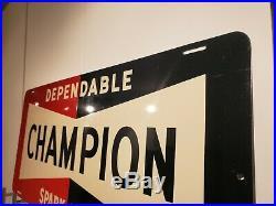 26x12 Antique Champion Spark Plug Tin Sign Original not Porcelain