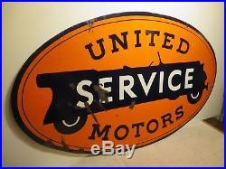 29x48 original 1930 antique United Motor Service Walker & Co. Porcelain Sign