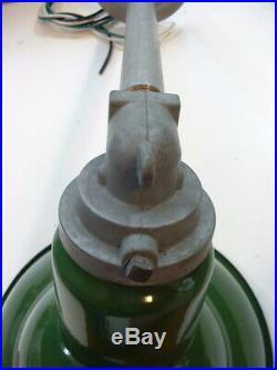 3- 1950's 8 Green Porcelain Sign Light Abolite Industrial Angle Gas Station VTG
