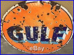 30 DSP Gulf Gas Oil Station Sign Porcelain Double Sided Rare Original