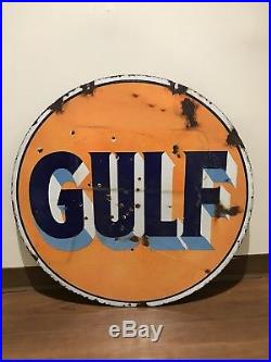 30 Inch DSP Gulf Dealer Porcelain Sign Petroliana Gas Oil Pittsburgh Man Cave