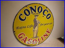 30 Round Vintage Conoco Extra Life for your car Porcelain Oil & Gas Sign
