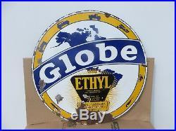 30 Round authentic 1920 Globe Ethyl Gasoline Porcelain Sign Gas & Oil Co