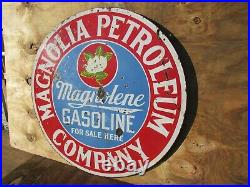 30 Round authentic org. 1920 Magnolia Petroleum Gas & Oil Co. Porcelain Sign