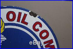 30 STANDARD SERVICE TORCH 2-SIDED PORCELAIN SIGN Motor Oil Gas INDIANA