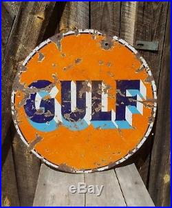30in Gulf Sign. Porcelain. Double sided
