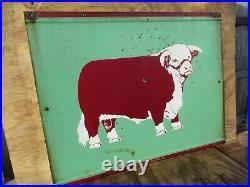 30x38 authentic DSP org. 1940 Texas Herford ASSN. Bull Farm Porcelain Sign
