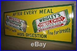36 SCARCE 1930's WRIGLEY'S CHEWING GUM PORCELAIN SIGN NOS NEAR MINT GAS CAR