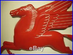 36x45 authentic 1930 Mobil Rare 3D Pegasus Gas & Oil Porcelain Sign
