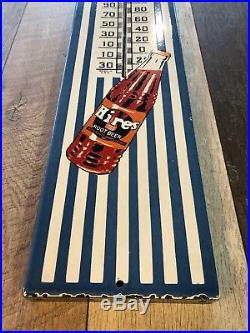 36x8drink Hires Root Beer Porcelain Over Steel Large Advertising Thermometer