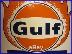 38x57 original 1960 antique Gulf Solar Heat Porcelain Sign Oil Gas Advertising