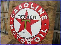 42.5 Round authentic org. SSP 1930 Texaco Gasoline & Motor Oil Porcelain Sign