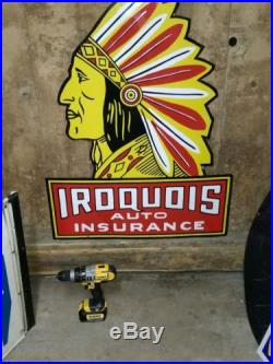 42 Iroquois Indian Auto Insurance Porcelain Metal Sign Motorcycle Harley