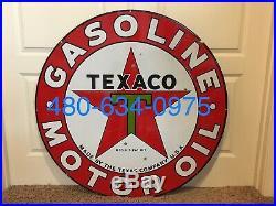 42 Original Double Sided Porcelain Texaco Motor Oil Gasoline Sign Shell Mobil