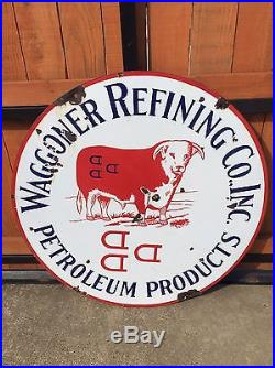 42 Waggoner Refining Co Petroleum Porcelain Sign Texas Cattle Ranch Rare