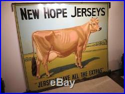 42x49 org. 1930 antique painted Cow Farm Sign New Hope Jersey (DS Not porcelain)