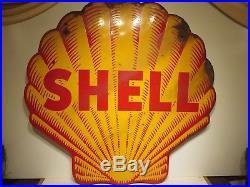 47x48 Antique Original 1920s Shark Tooth SHELL Porcelain Sign Thick & Heavy