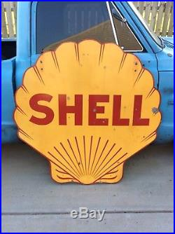 48 1940s SHELL Service Station Porcelain Sign Gas & Oil
