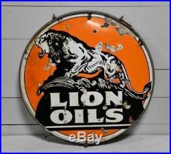 48 Rare Original Lion Oil Gas Gasoline Porcelain Sign