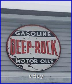 48 inch Deep Rock gas and oil orginal porcelain sign Sinclair. Mobil. Standard p