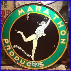 48 original antique 1920 Marathon ProductsBest in the Long Run Porcelain Sign