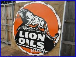 48 round DSP authentic org. 1920 LION OIL & Gas Co. Porcelain Sign