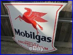48x48 Org. 1932 Mobilgas Pegasus Socony DSP Authentic Gas & Oil Porcelain Sign