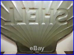 48x48x4 Original Antique 1940 Shell 3-D Porcelain Gas & Oil Advertising Sign