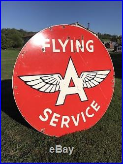6' Flying A Service DOUBLE sided Porcelain RARE sign Original early 4-56 DSP 72