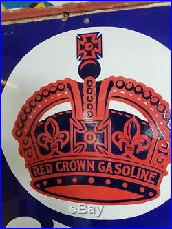 6 PORCELAIN RED CROWN GASOLINE POLARINE MOTOR OIL THERMOMETER Nebraska Version