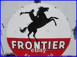 6 feet RARE original antique 1958 Frontier Rarin to Go Colorado Porcelain Sign