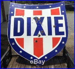 6 ft tall DIXIE Porcelain Gas Sign Original Antique Advertisement Gasoline VTG