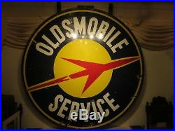 60x63 Rare 1940 Antique Org. Authentic Oldsmobile Rocket 1940 DS Porcelain Sign