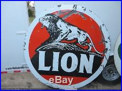 6ft. 72 RARE early antq. Org. 1920 white boarder Lion Gas & Oil Porcelain Sign